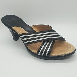Sofft Black and White Striped Leather Sandal